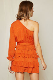 Sierra Print One Shoulder Tiered Dress