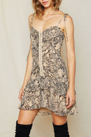 storets.com Kyra Python Hook and Eye Ruffle Dress