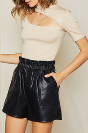 Tyra Faux Leather Paperbag Shorts