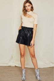 storets.com Tyra Faux Leather Paperbag Shorts