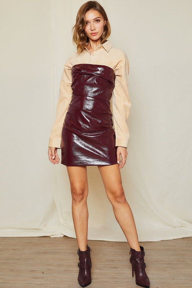 storets.com Seren Faux Leather Tube Dress