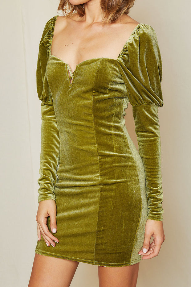 Teresa Sweatheart Neck Velvet Dress