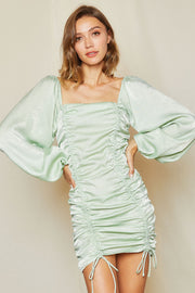 storets.com Helena Ruched Balloon Sleeve Dress