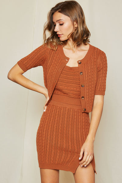 Linnea Cable Knit Crop Cardigan