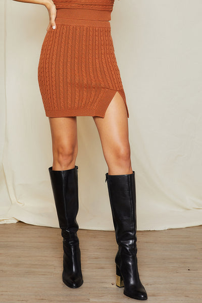 storets.com Linnea Cable Knit Slit Skirt