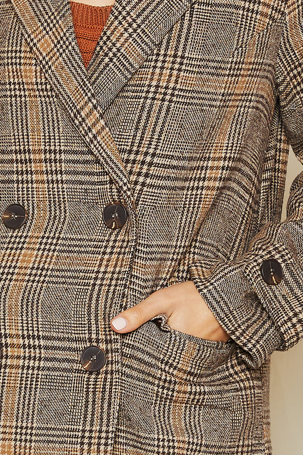 storets.com Cassia Plaid Double Breasted Coat