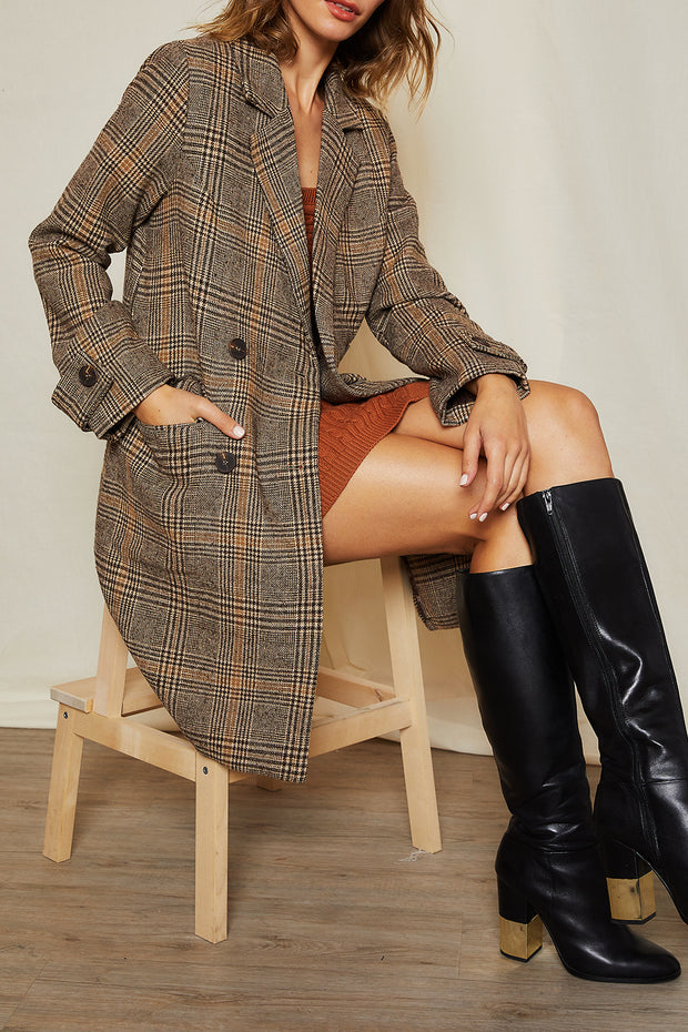 Cassia Plaid Double Breasted Coat