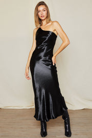 storets.com Carrie One Shoulder Satin Cami Dress