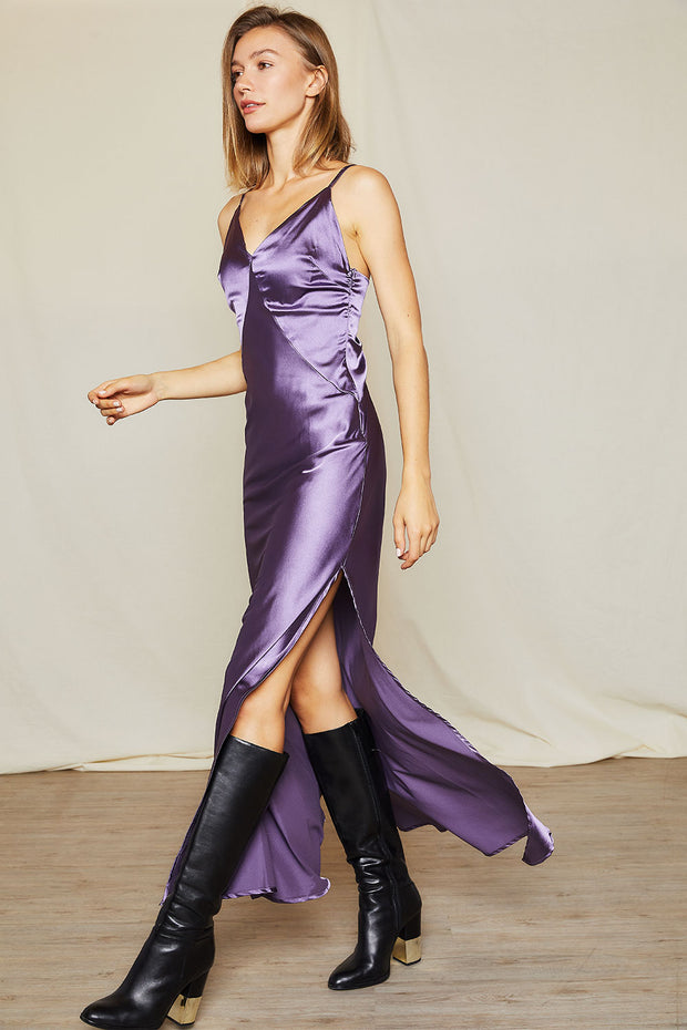 storets.com Lora Satin Plunge Cami Dress