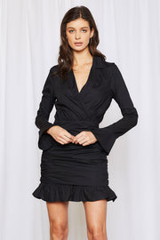 Paisley Ruched Plunge Dress