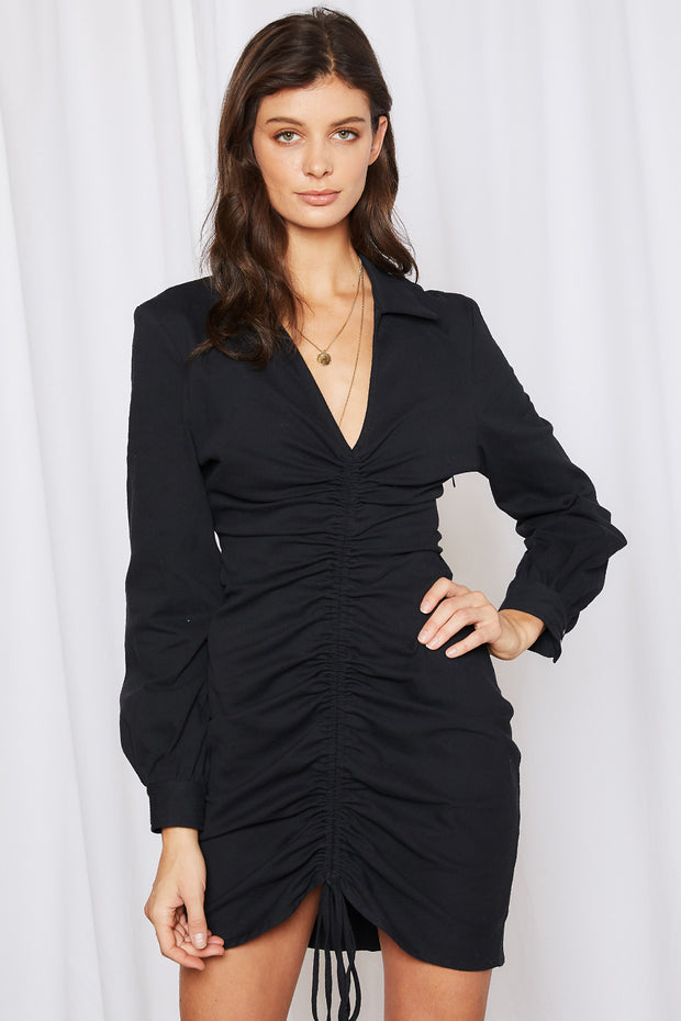 storets.com Everly Ruched Front Plunge Dress
