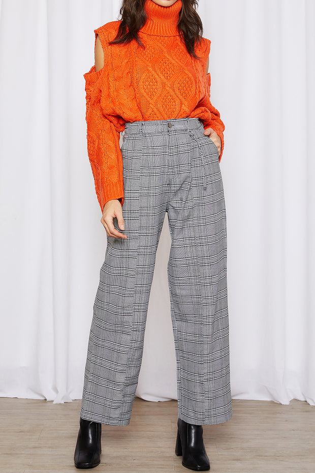 Skylar Plaid Pintuck Pants