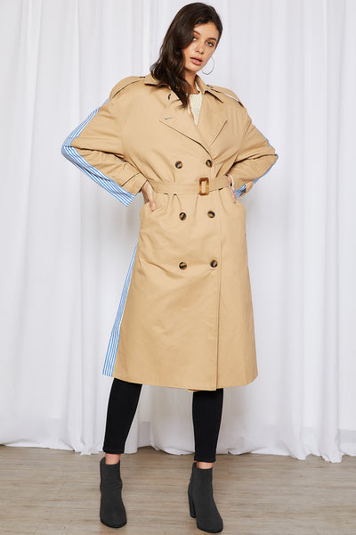 storets.com Vivian Trench Coat w/Stripe Splicing