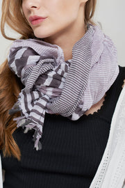 storets.com Stripe Cotton Scarf-Gray