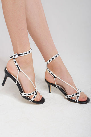 Studded Strappy Heels-Black