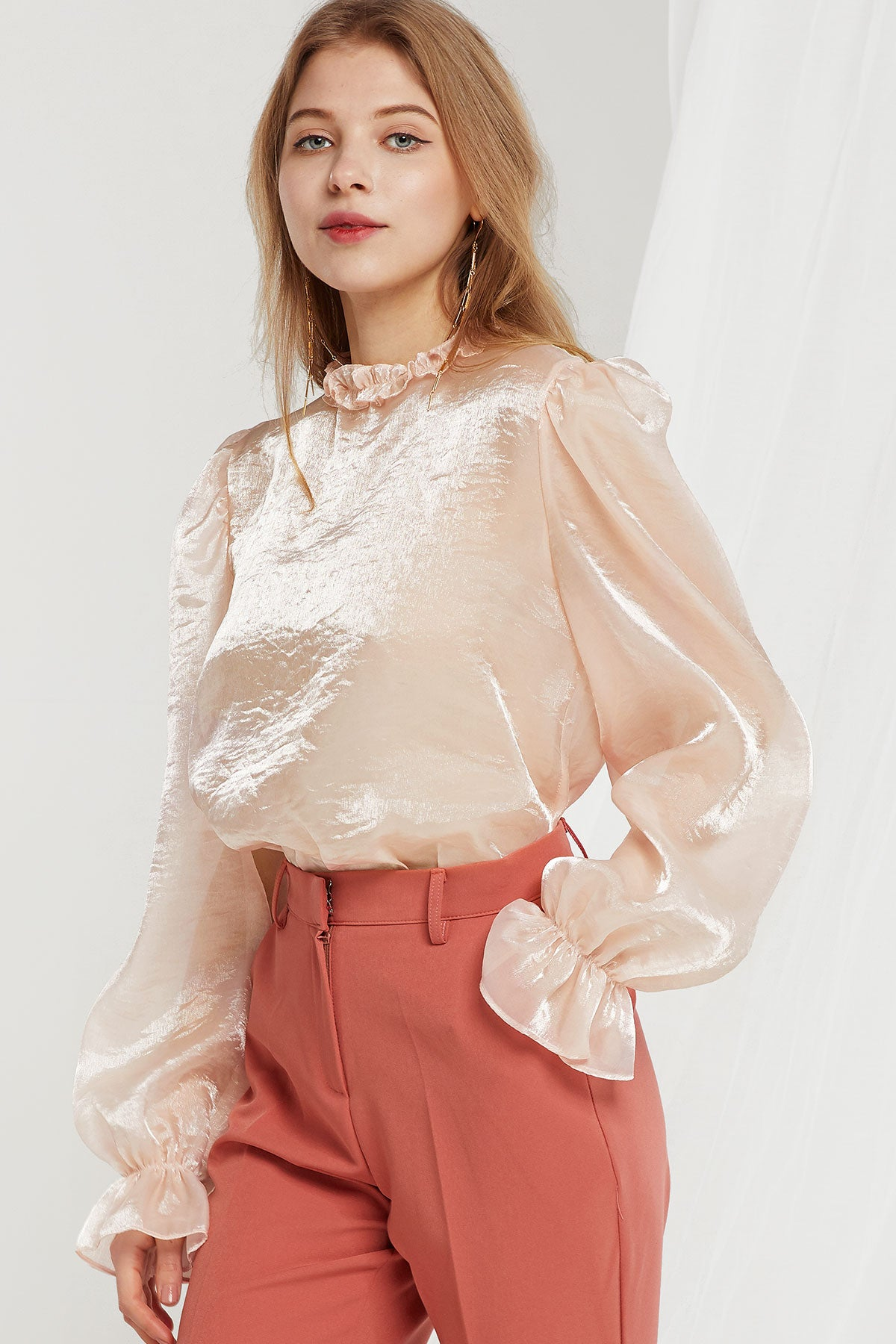 Susan Satin Frill Neck Blouse