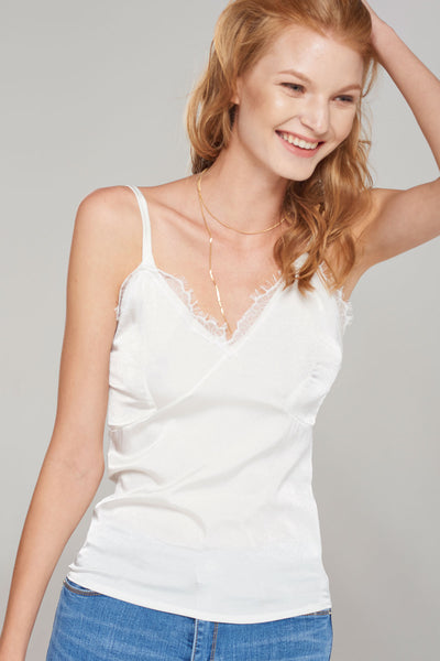Susan Slip-on Silky Lace Strap Top-Ivory