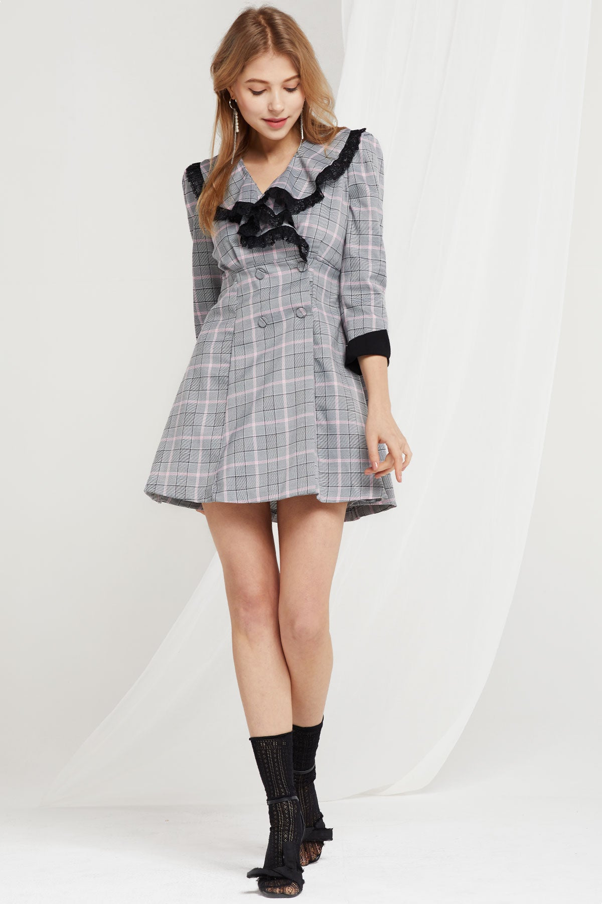 Sybil Double Breast Plaid Dress