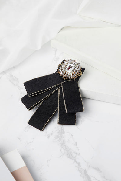 Crystal Jewel Bow Tie Brooch