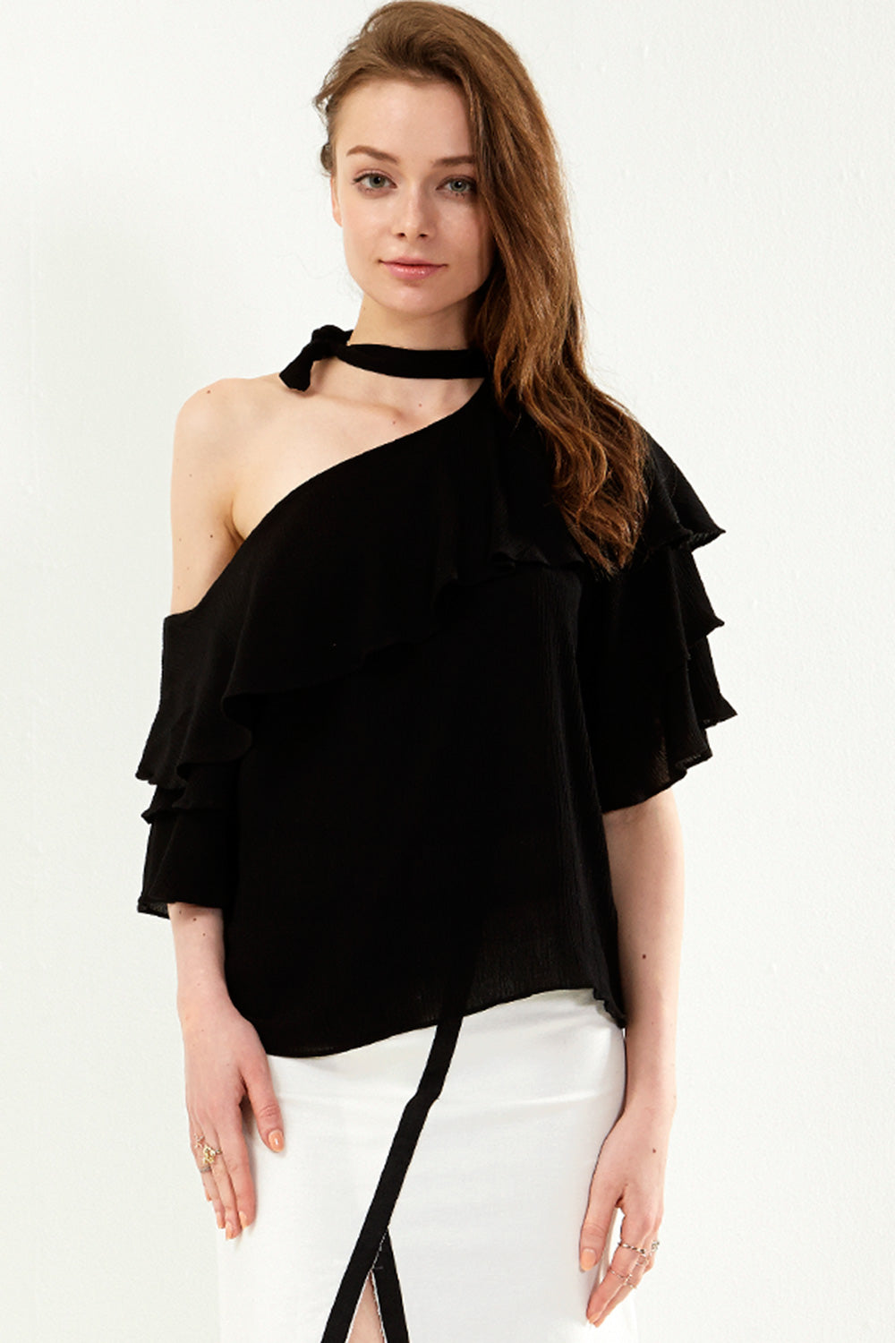 Tamia Choker Neck One Shoulder Top