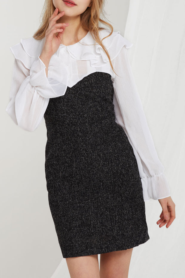 Taylor Wavy Collar Contrast Dress