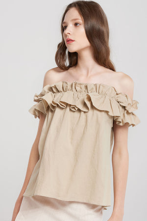 Tiara Big Frill Off Shoulder Linen Blouse-Beige