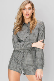 Tina Collared Plaid Romper