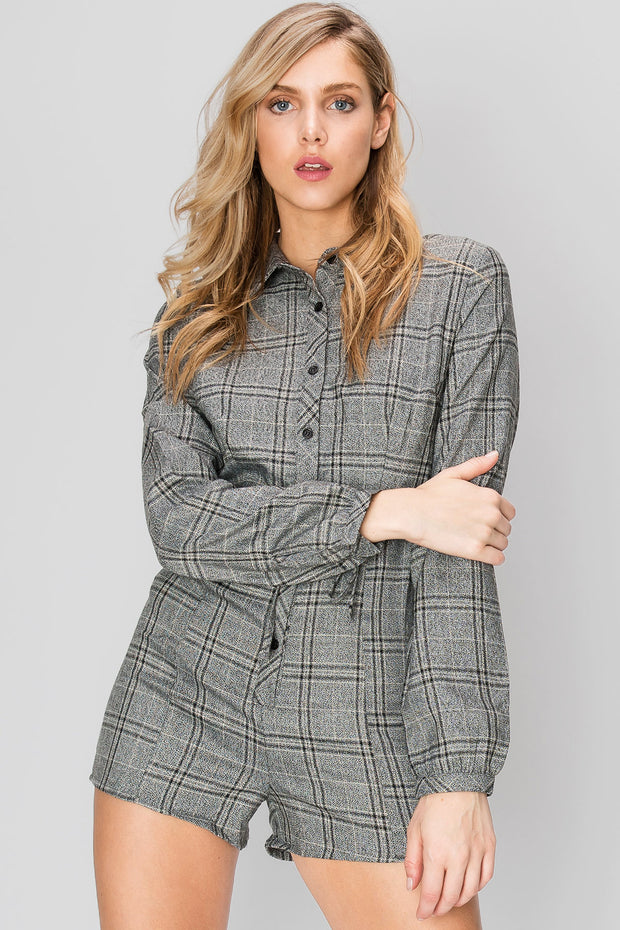 storets.com Tina Collared Plaid Romper