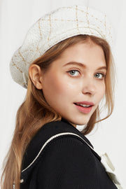 Tweed Beret in White