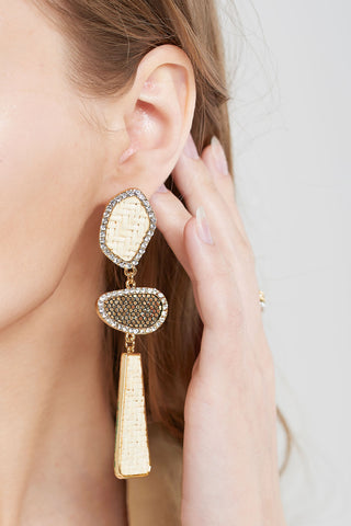 Unbalanced Weaved Charm Earrings-Gold