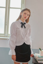 [LETTER FROM MOON] Cropped Blouse w/Puff Sleeve in White