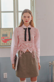 [LETTER FROM MOON] Drawstring Ruched Blouse in Pink Stripe