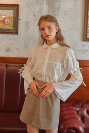 [LETTER FROM MOON] Sheer Textured Blouse w/Flare Sleeve in Ivory