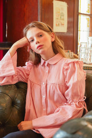 [LETTER FROM MOON] Sheer Textured Blouse w/Flare Sleeve in Pink