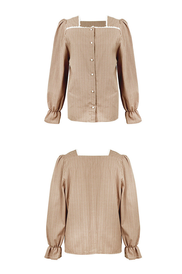 [LETTER FROM MOON] Lace-Trim Square Neck Check Blouse in Beige