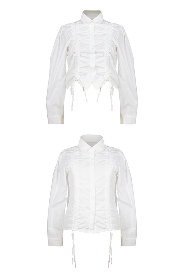 [LETTER FROM MOON] Drawstring Ruched Blouse in White