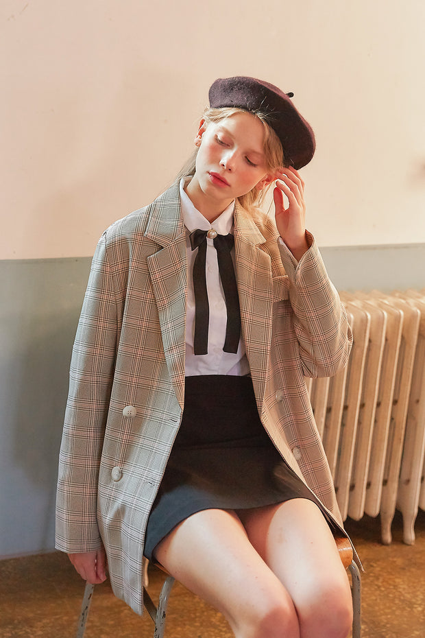 [LETTER FROM MOON] Plaid Check Blazer