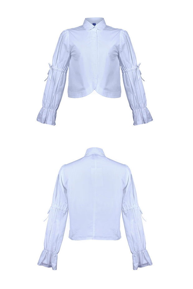 [LETTER FROM MOON] Cropped Blouse w/Puff Sleeve in Skyblue