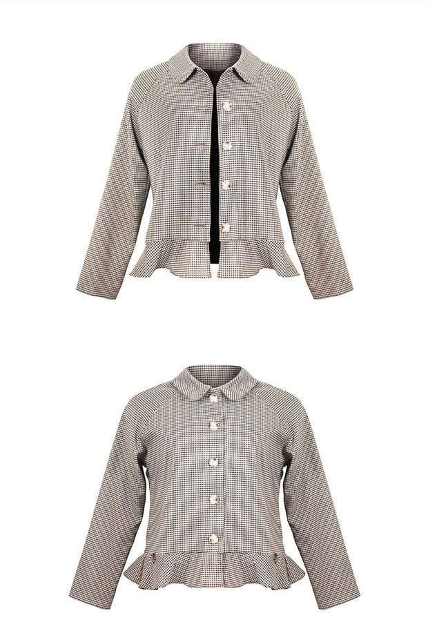 [LETTER FROM MOON] Peplum Crop Jacket in Check