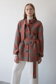 [NUVO10] belted check jacket