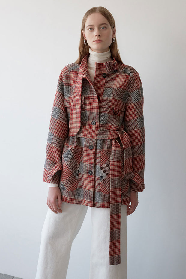 [NUVO10] HANDMADE_belted check jacket
