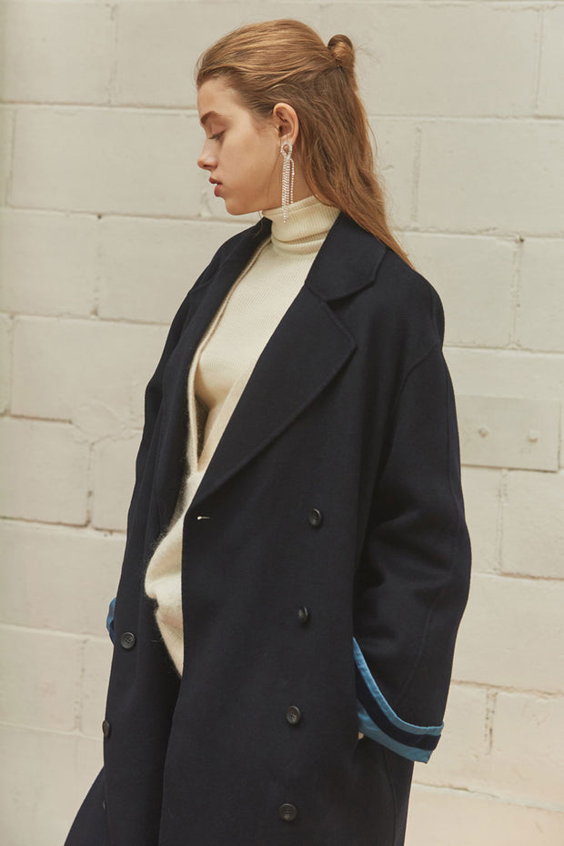 [NUVO10] HANDMADE_cuffs pointed long wool coat