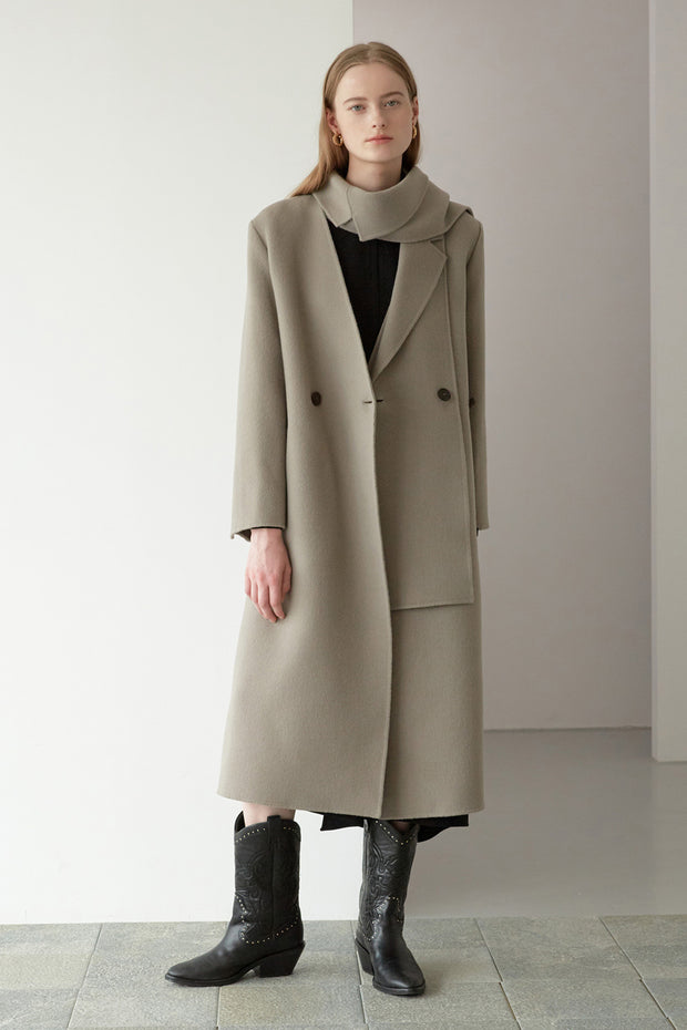 [NUVO10] detachable collar long coat