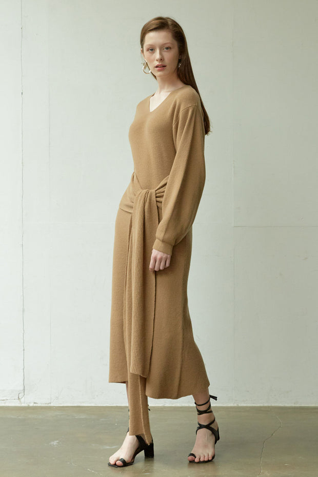 [NUVO10] KNIT_belted knit long dress