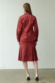 [NUVO10] SHIRT_burgundy slim shirt