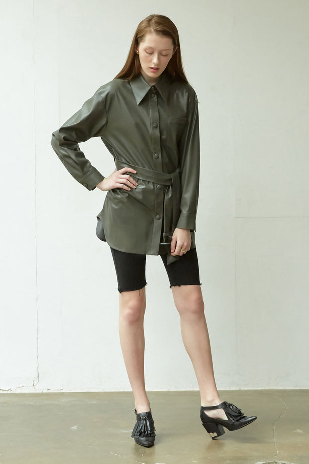[NUVO10] SHIRT_vegan leather belted shirt