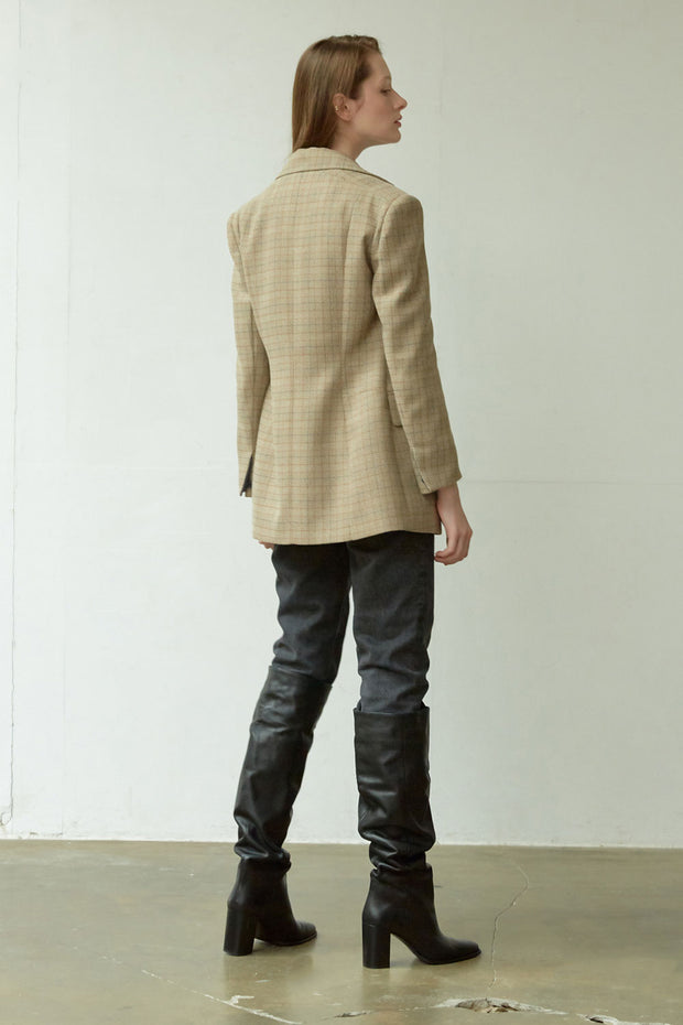 [NUVO10] JACKET_check slim jacket
