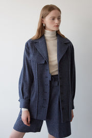 [NUVO10] herringbone belted jacket