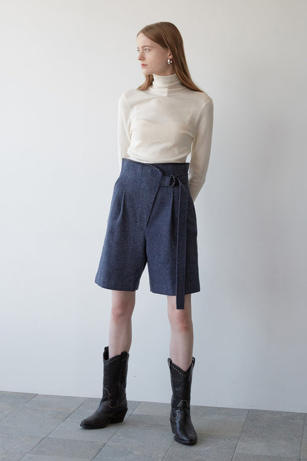 [NUVO10] herringbone wool shorts