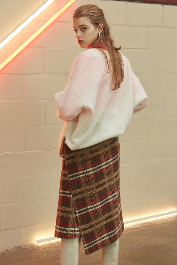 [NUVO10] SKIRT_multi-color check wrap skirt